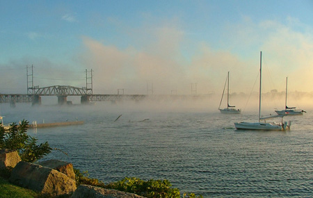 Fog off the Susquehanna River in Havre de Grace, MD