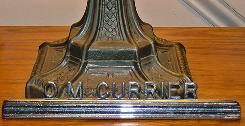 Nameplate on original desk from Livery Stable (actually Jane's dad, O.M. Currier)
