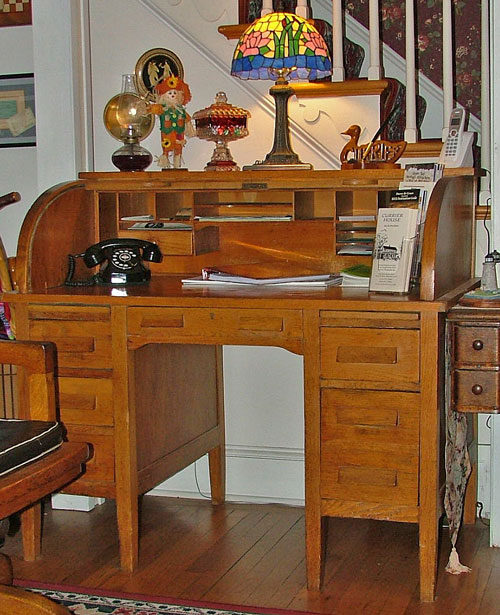 Original desk from Havre de Grace Livery Stable still used at Currier House B&B